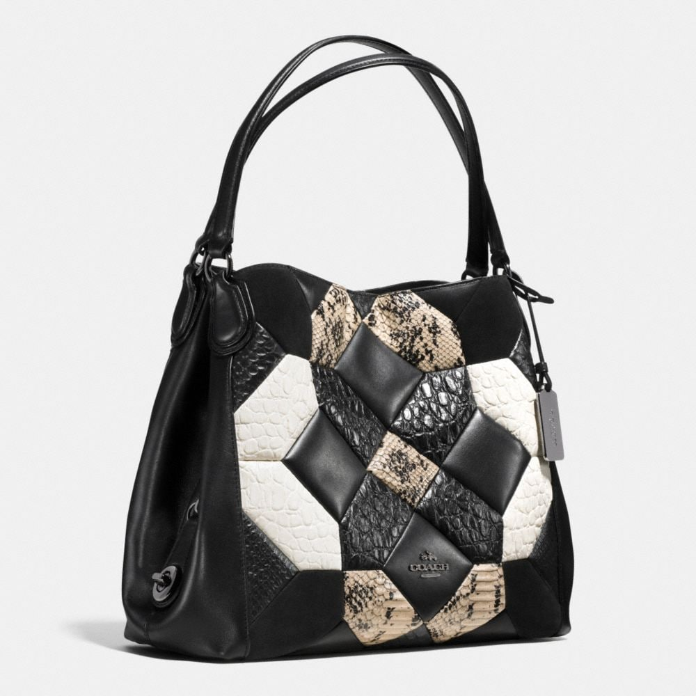 Coach Canyon Quilt Edie Shoulder Bag 31 in Exotic Embossed Leather Alternate View 2