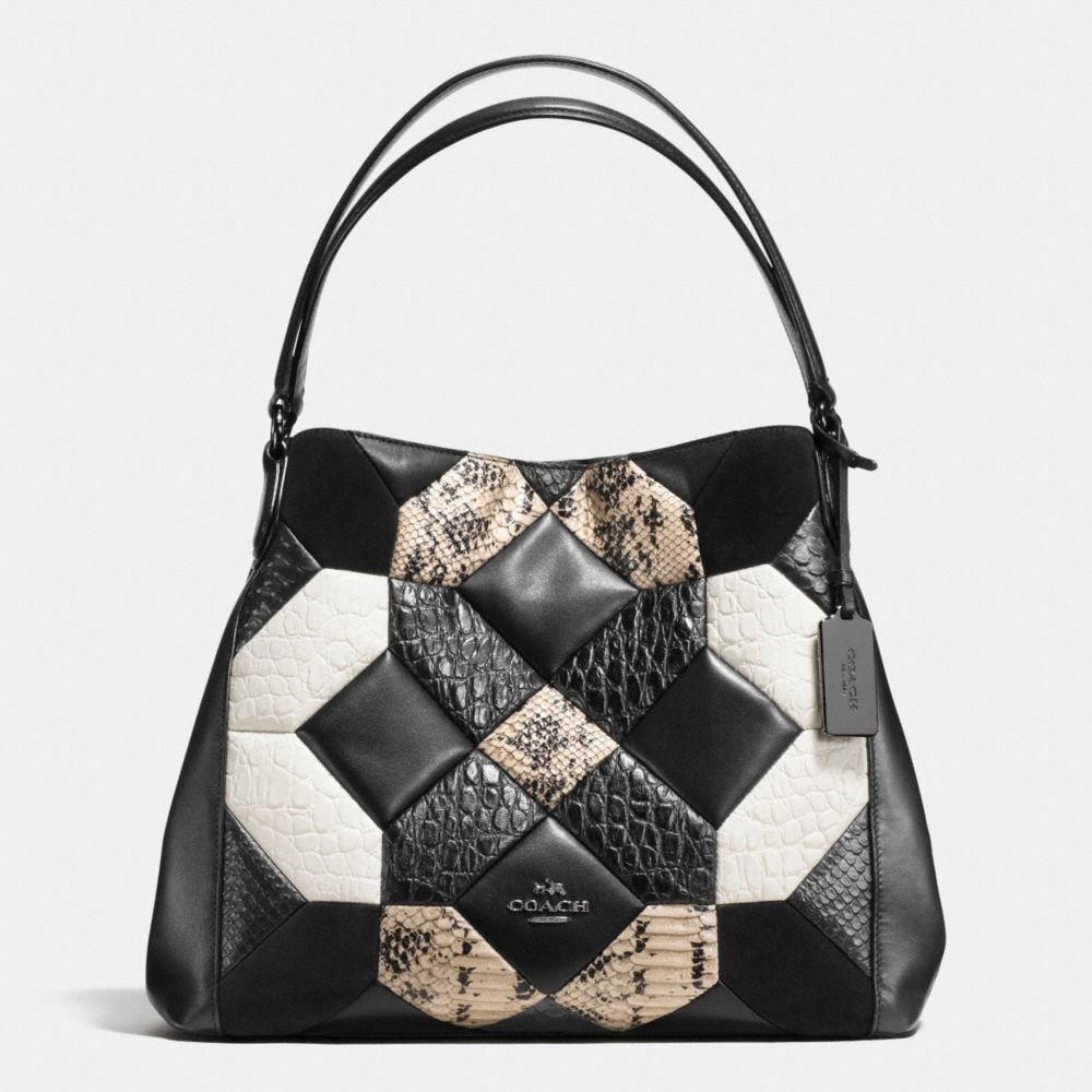 Coach Canyon Quilt Edie Shoulder Bag 31 in Exotic Embossed Leather