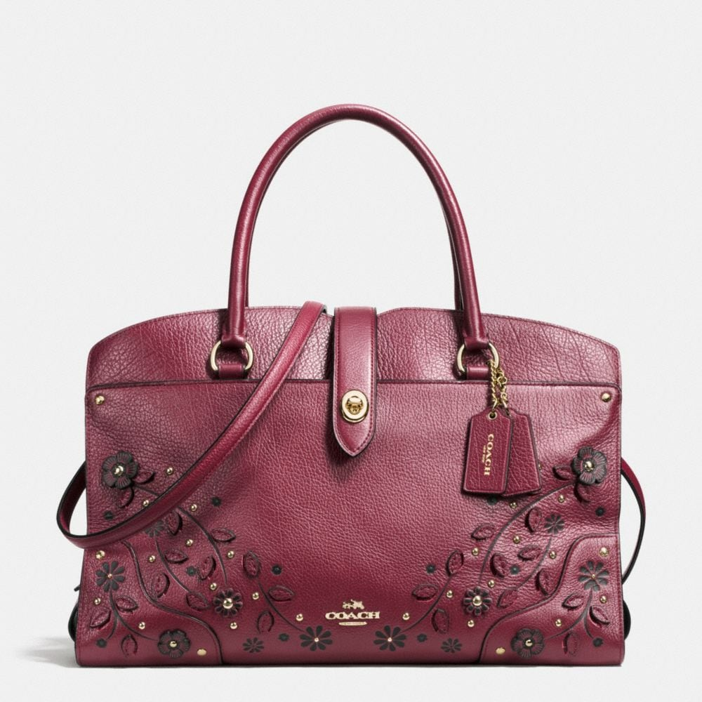 WILLOW FLORAL MERCER SATCHEL IN GRAIN LEATHER