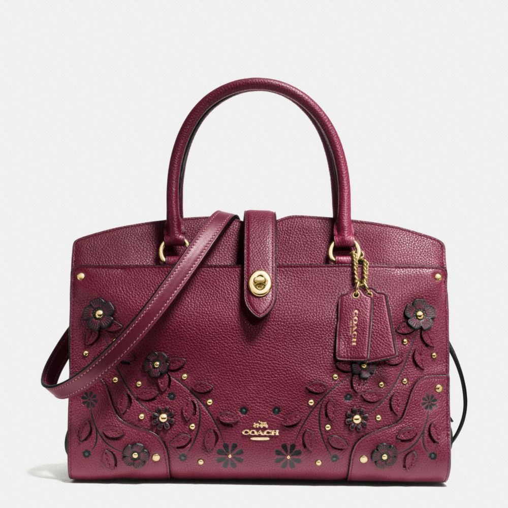 Willow Floral Mercer Satchel 30 in Grain Leather