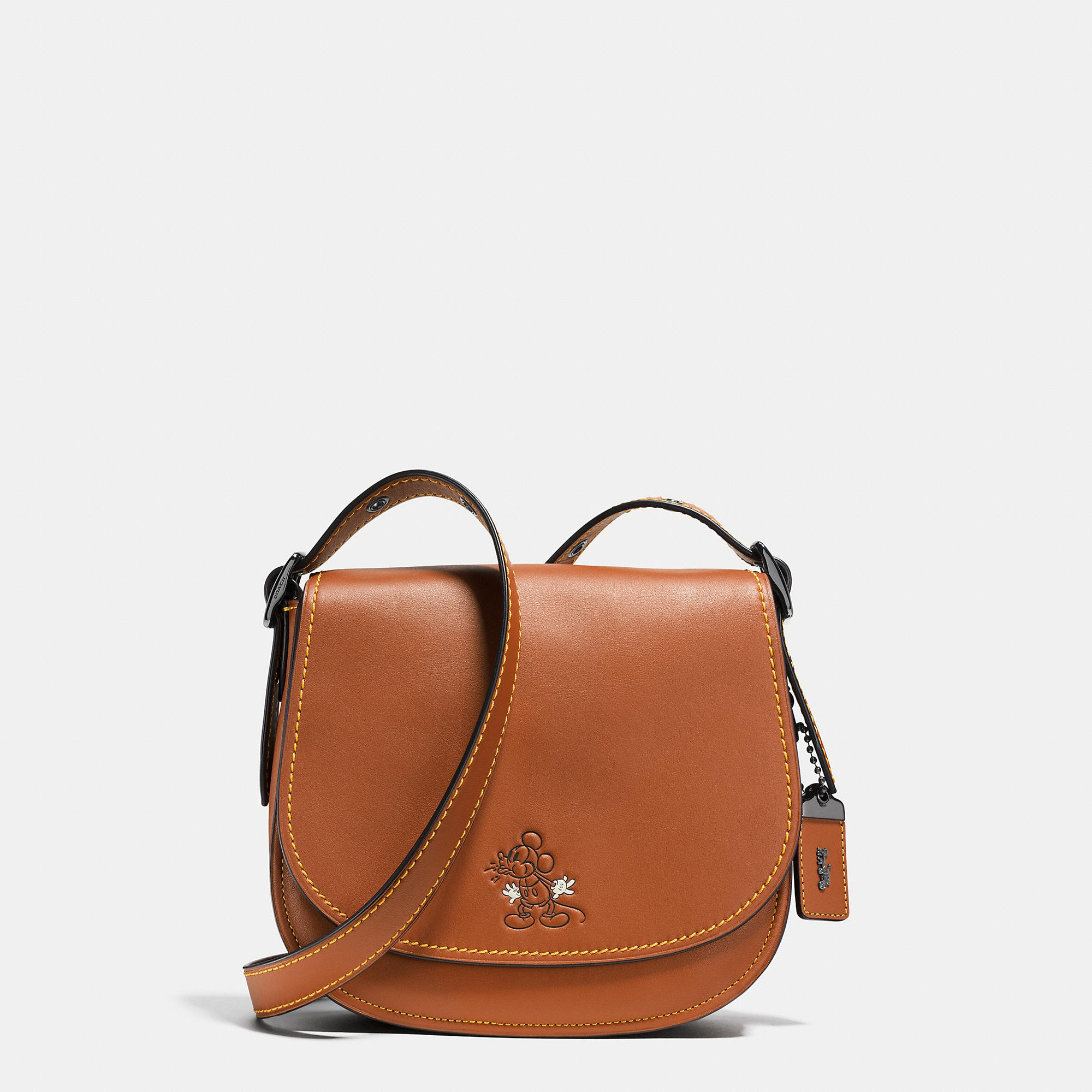 Coach Mickey Saddle Bag 23 In Glovetanned Leather - Disney
