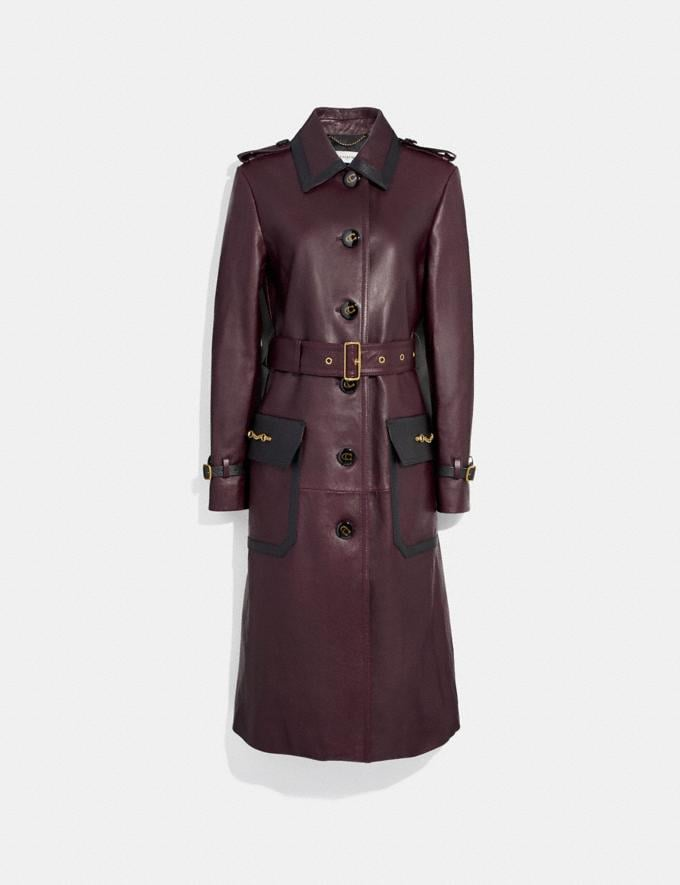 Coach Western Leather Trench Coat Mahogany