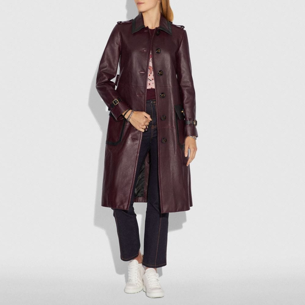 Coach Western Leather Trench Coat Alternate View 1