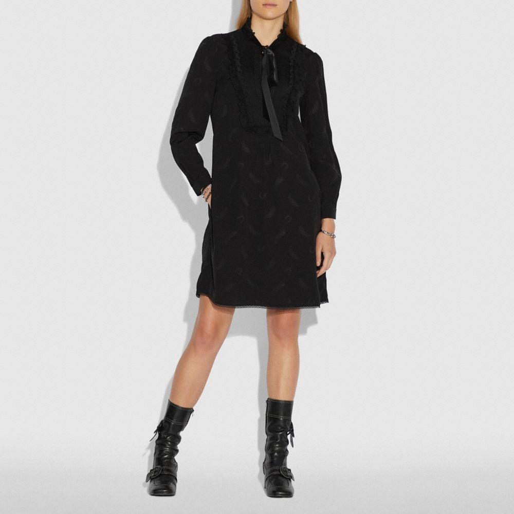 Coach Tie Neck Flare Dress Alternate View 1