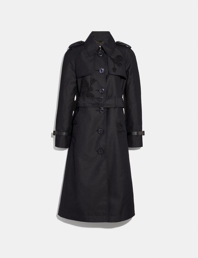 Coach Embellished Trench Coat Black