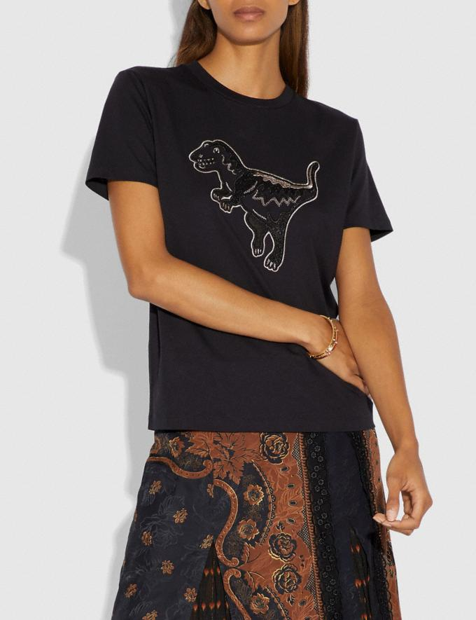 Coach Embroidered Rexy T-Shirt Dark Shadow Women Ready-to-Wear Tops Alternate View 1