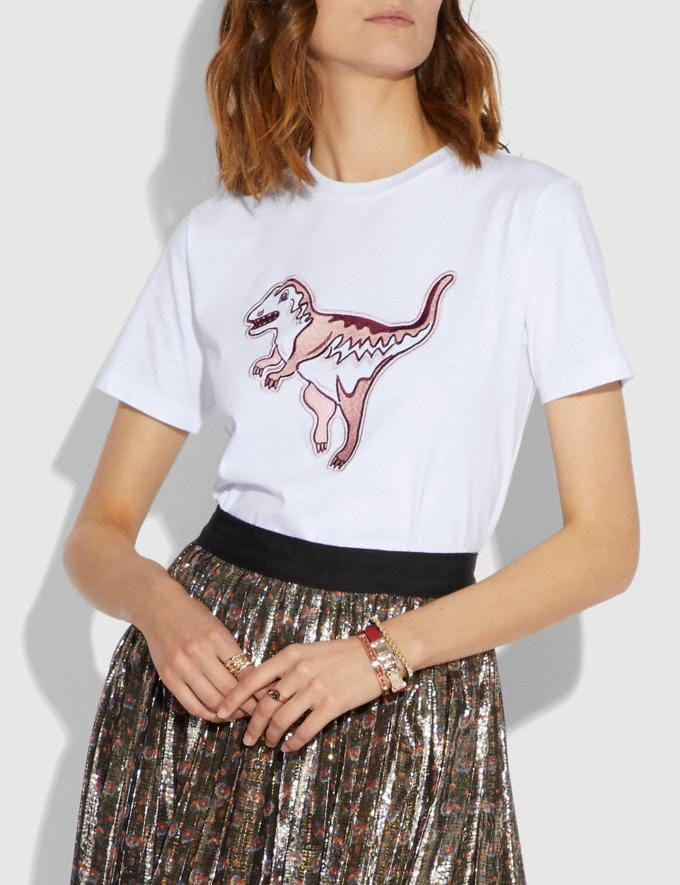 Coach Embroidered Rexy T-Shirt Optic White  Alternate View 1