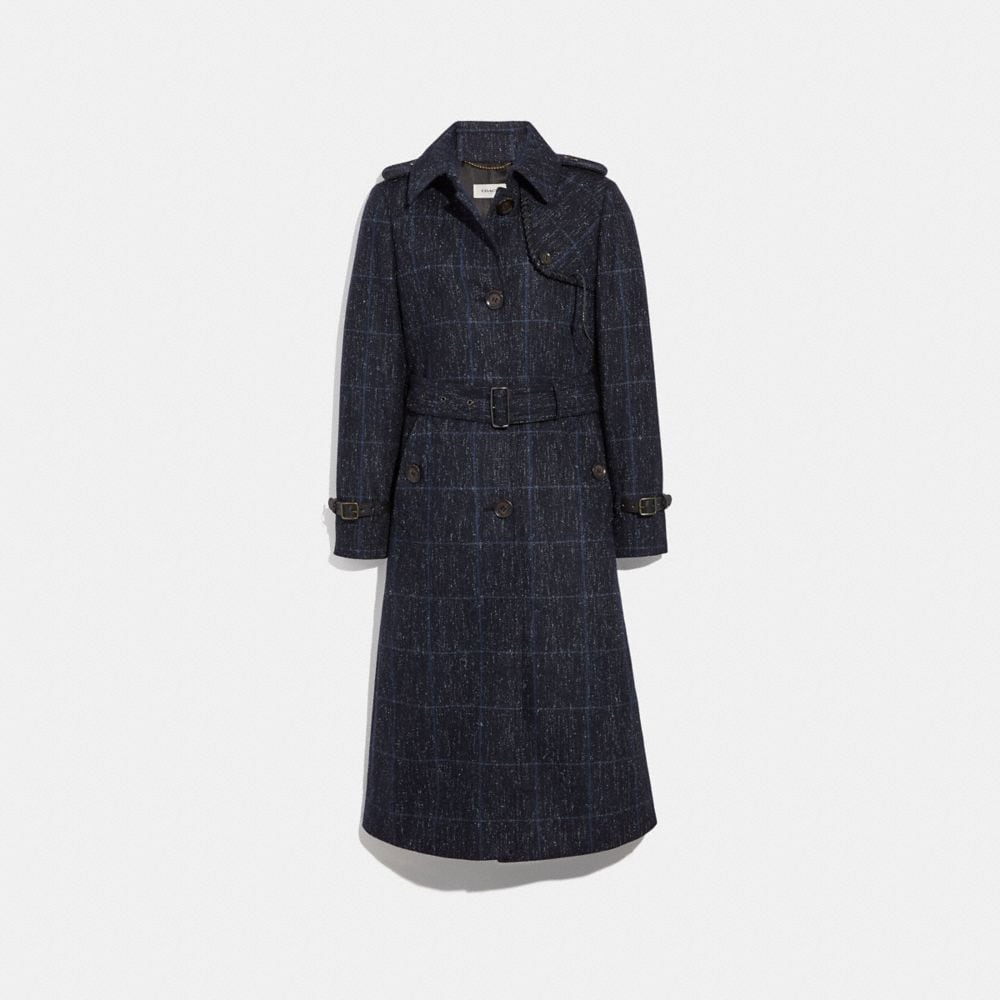 Coach Plaid Trench Coat