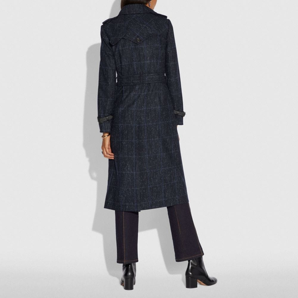 Coach Plaid Trench Coat Alternate View 2