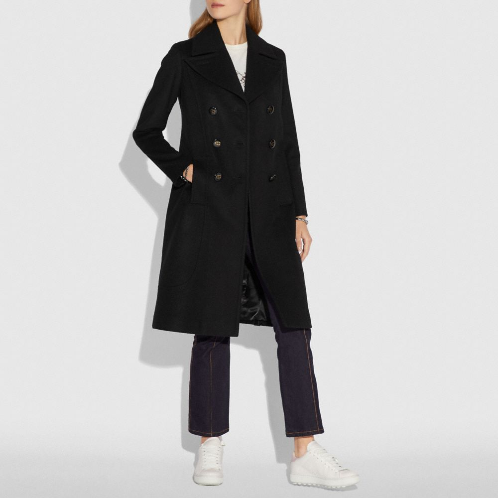 Coach Wool Trench Coat Alternate View 1