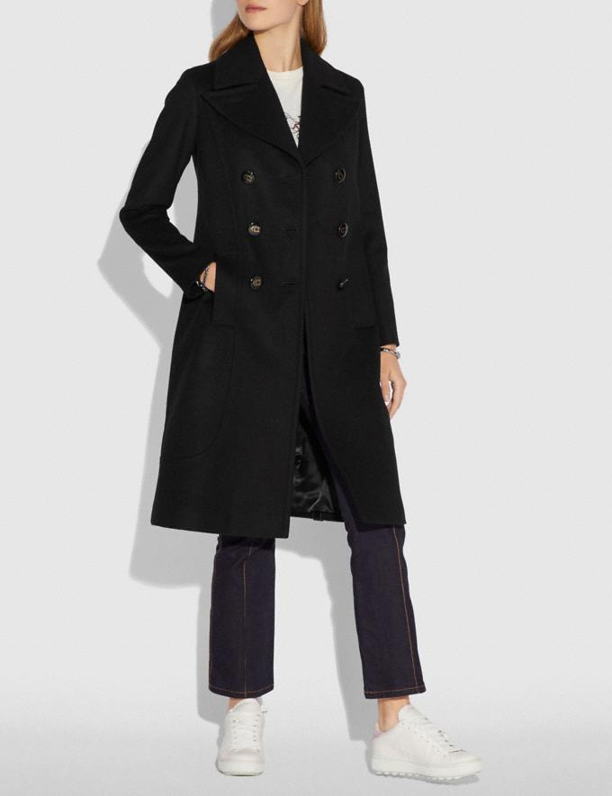 Coach Wool Trench Coat Black  Alternate View 1