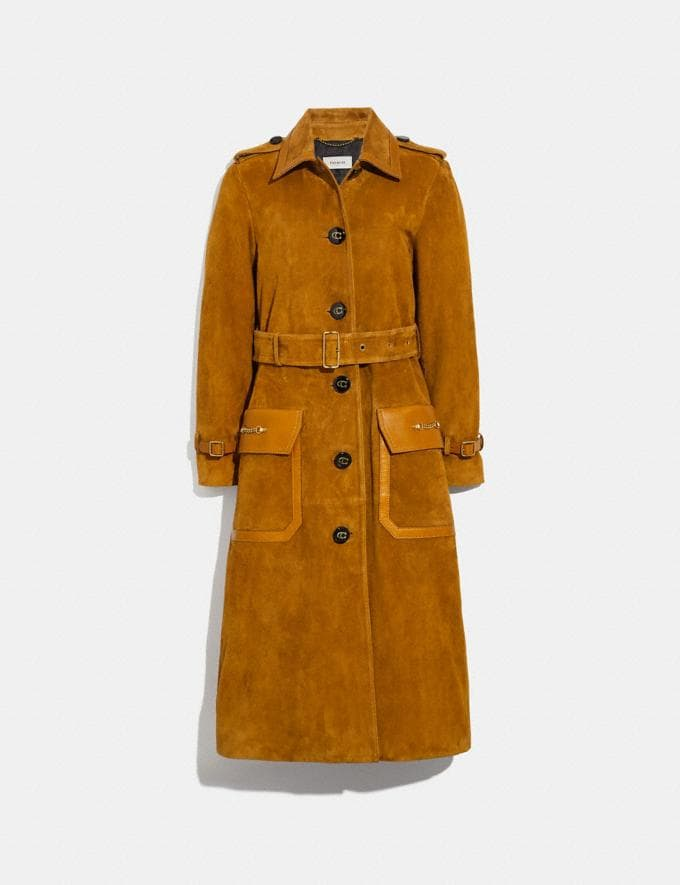 Coach Western Suede Trench Coat Camel