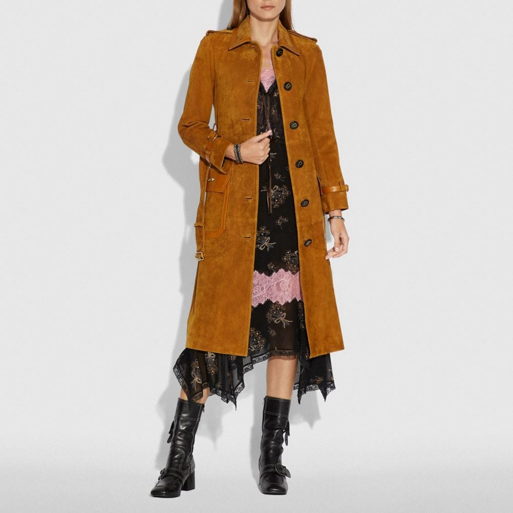 Coach Western Suede Trench Coat Alternate View 1