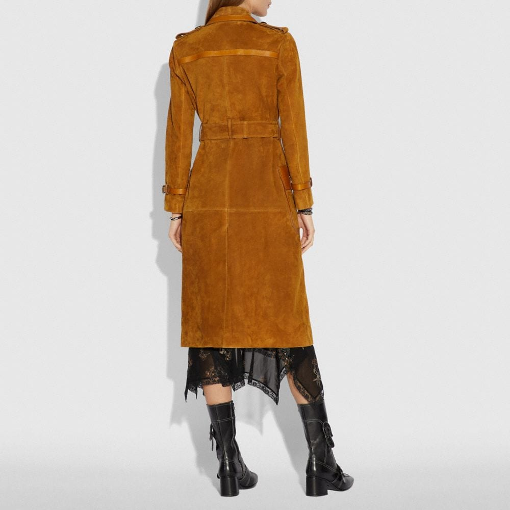 Coach Western Suede Trench Coat Alternate View 2