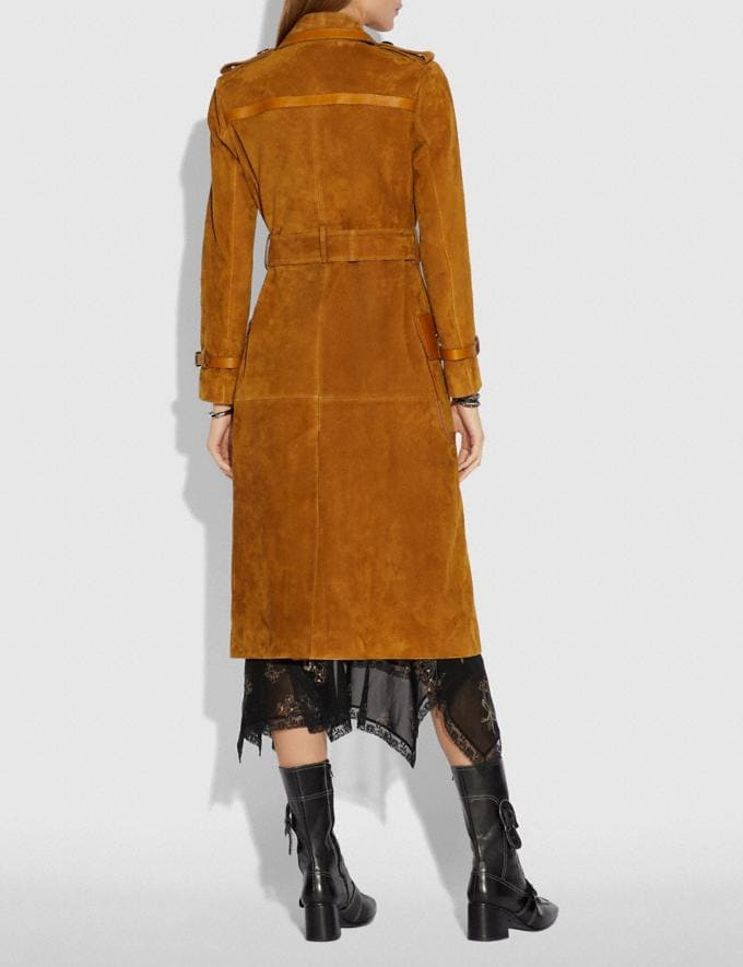 Coach Western Suede Trench Coat Camel  Alternate View 2