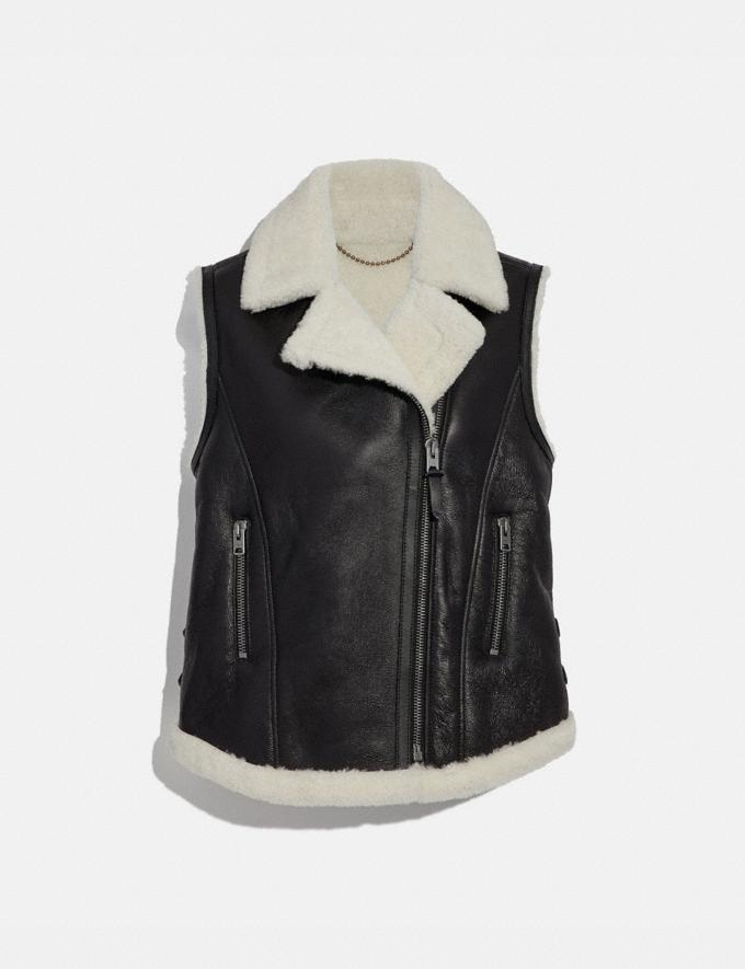 Coach Shearling Moto Vest Black