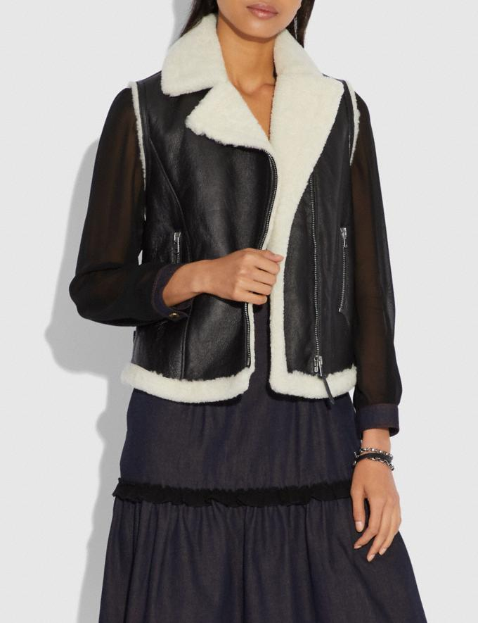Coach Shearling Moto Vest Black  Alternate View 1