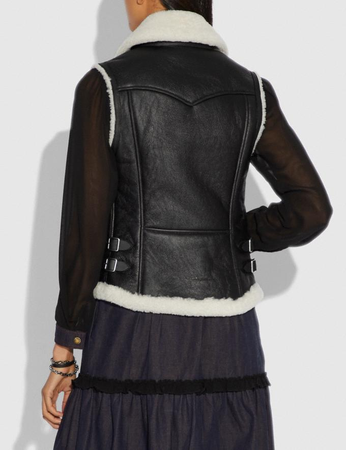 Coach Shearling Moto Vest Black  Alternate View 2