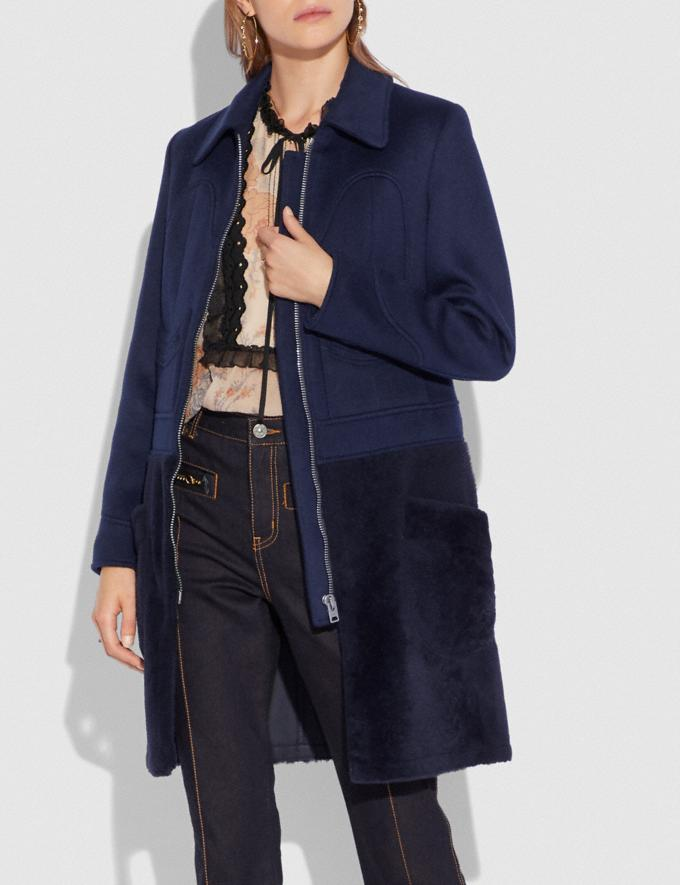 Coach Shearling Wool Coat Navy  Alternate View 1