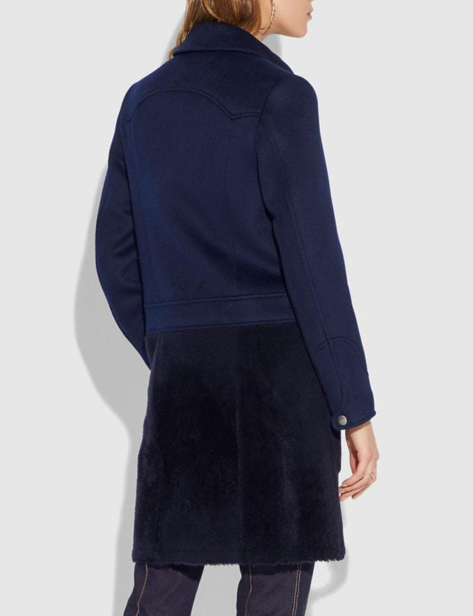 Coach Shearling Wool Coat Navy  Alternate View 2