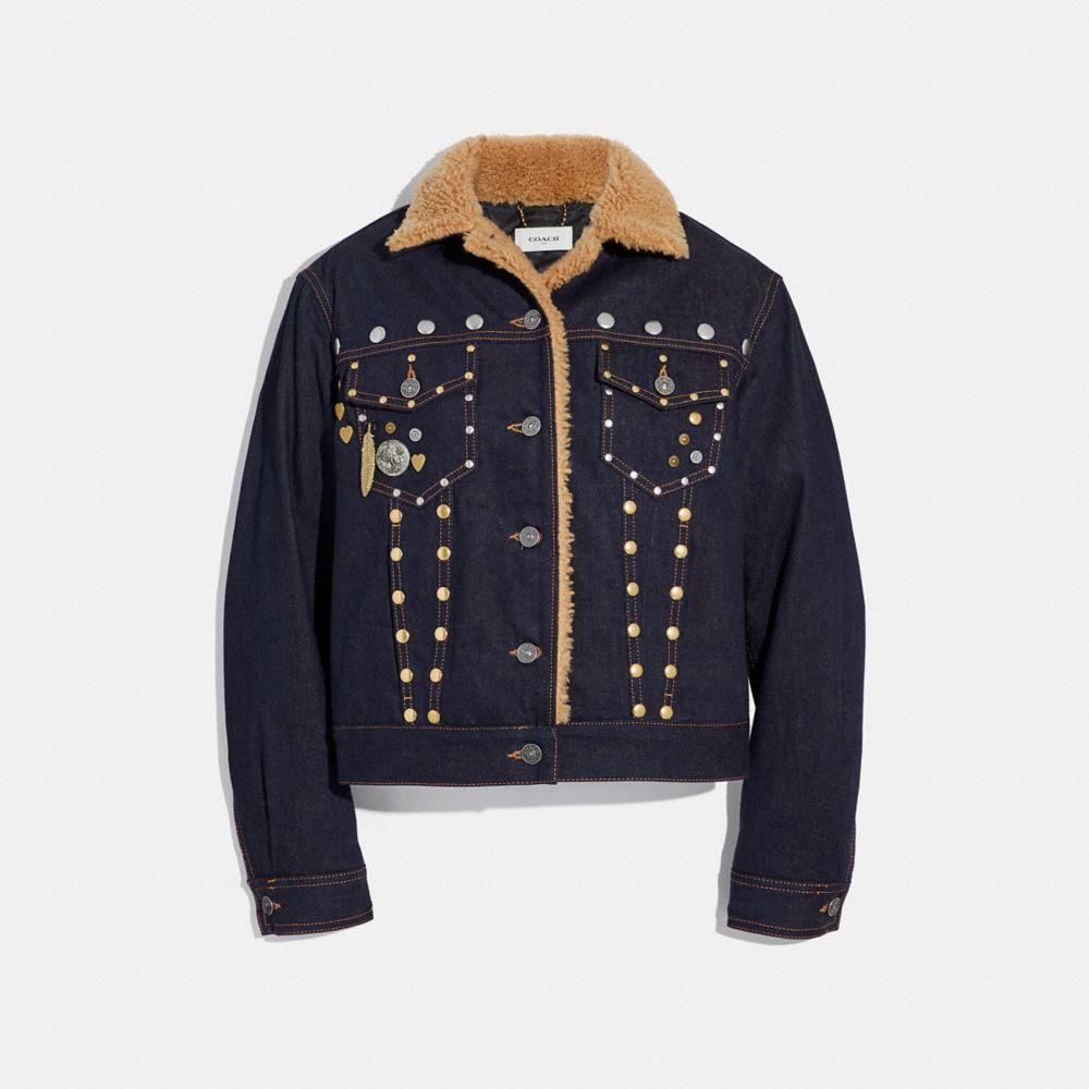 embellished denim jacket with shearling