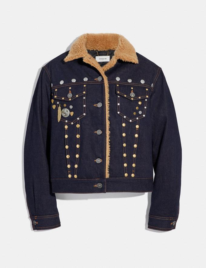 Coach Embellished Denim Jacket With Shearling Denim
