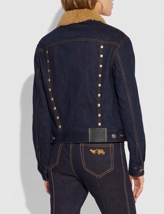 Coach Embellished Denim Jacket With Shearling Denim  Alternate View 2