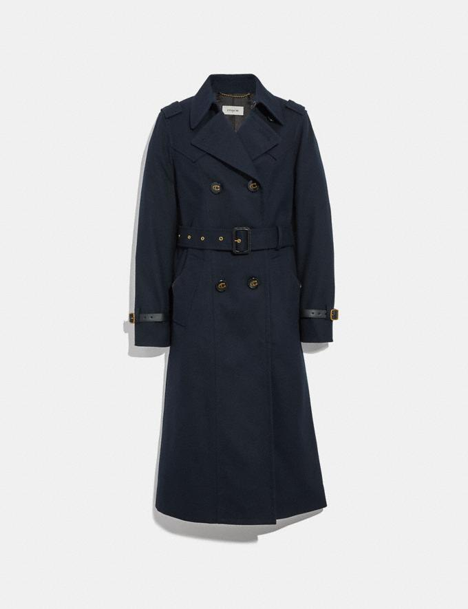 Coach Cotton Trench Coat Navy