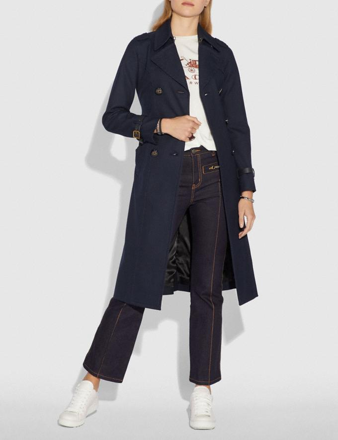 Coach Cotton Trench Coat Navy  Alternate View 1