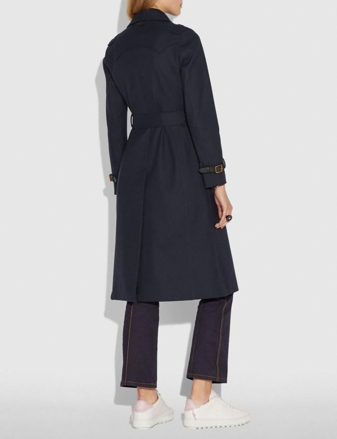 Coach Cotton Trench Coat Navy  Alternate View 2