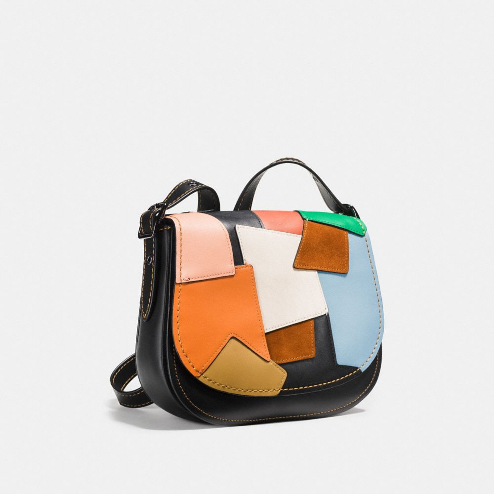 SADDLE BAG 23 IN PATCHWORK LEATHER - Alternate View A3