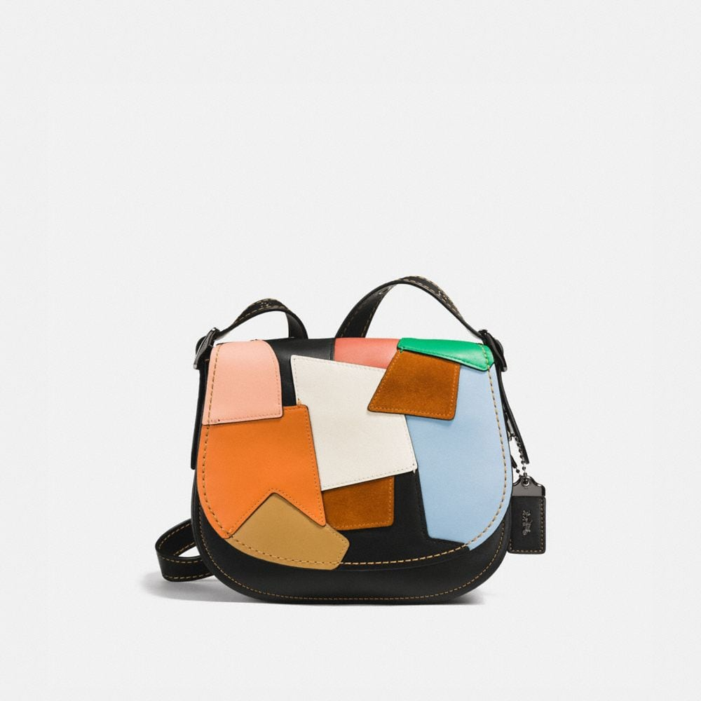 SADDLE BAG 23 IN PATCHWORK LEATHER