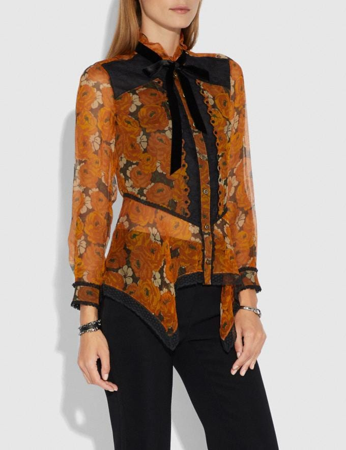Coach Rose Print Top Orange  Alternate View 1