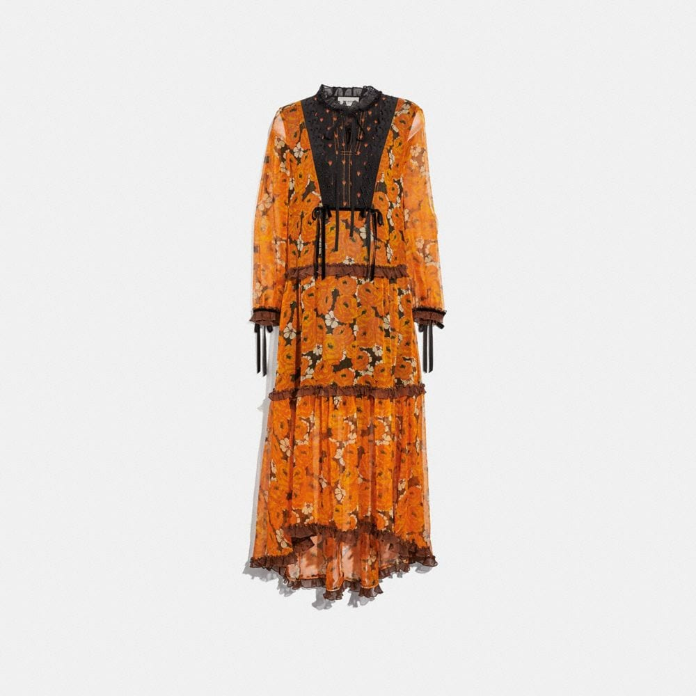 Coach Floral Long-Sleeve Flared Dress - Yellow & Orange from COACH