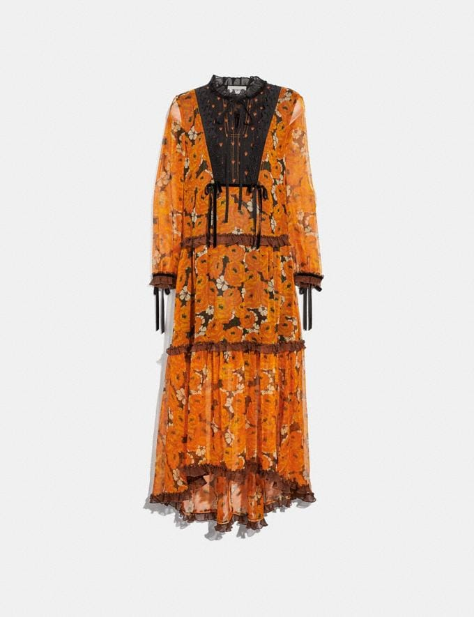 Coach Rose Print Tiered Dress Orange