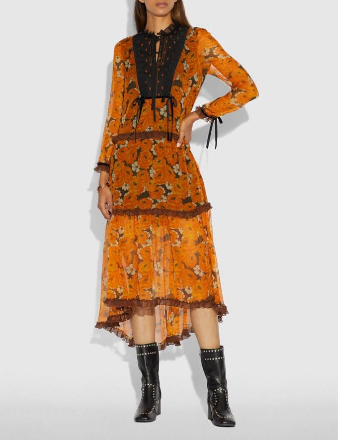 Coach Rose Print Tiered Dress Orange  Alternate View 1