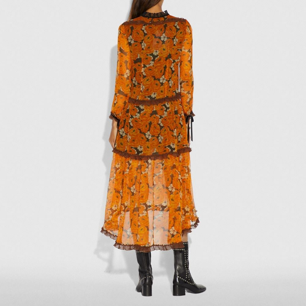 Coach Rose Print Tiered Dress Alternate View 2