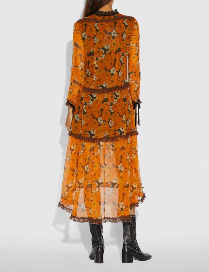 Coach Rose Print Tiered Dress Orange  Alternate View 2