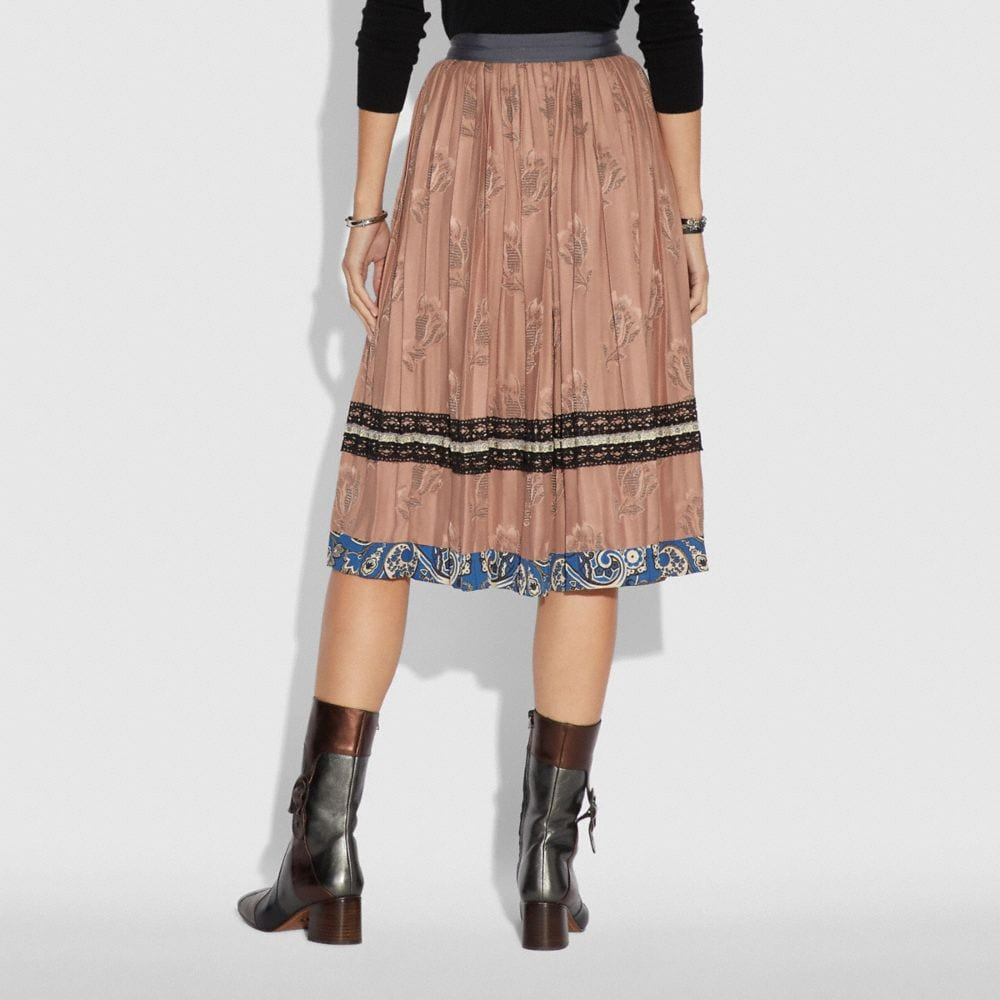 Coach Tulip Print Pleated Skirt Alternate View 2