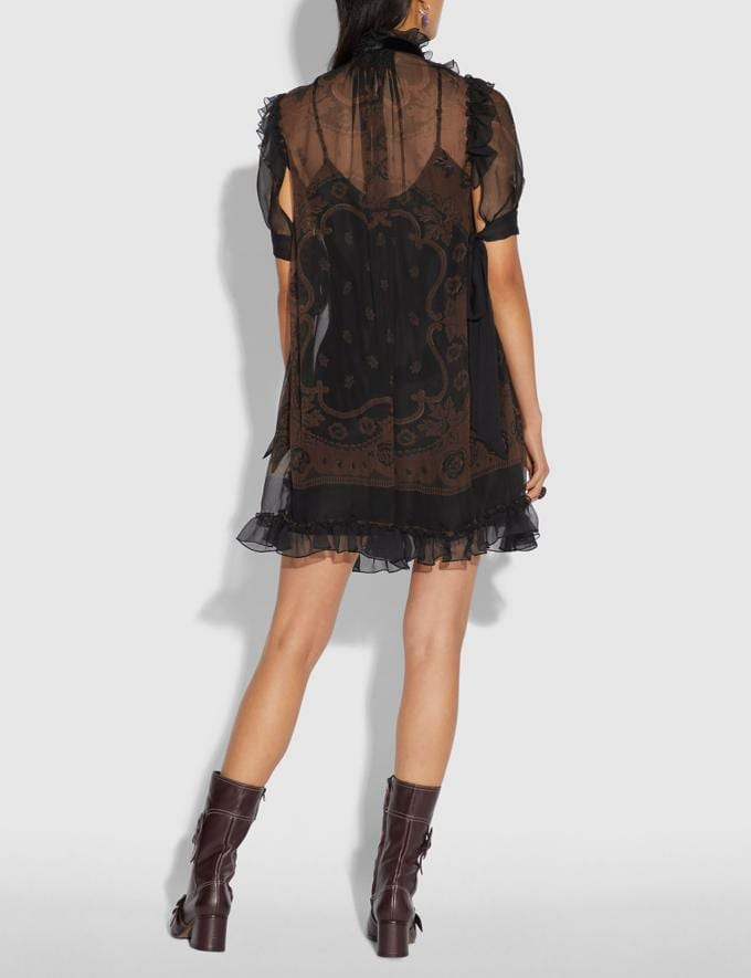 Coach Bandana Print Mini Dress Brown  Alternate View 2