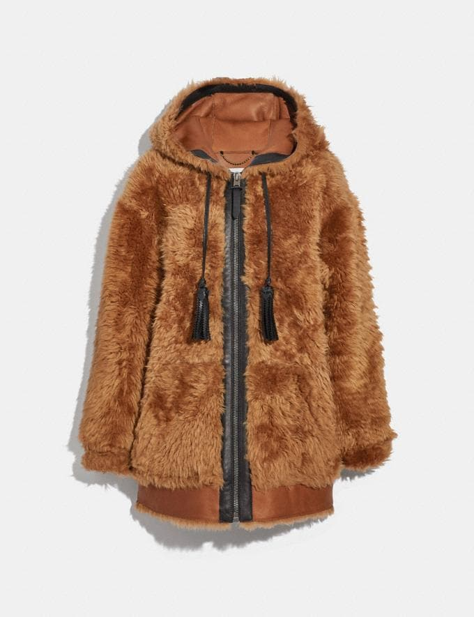 Coach Shearling Hoodie Oak Brown