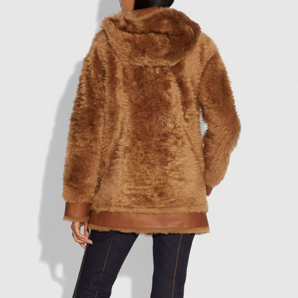Coach Shearling Hoodie Alternate View 2