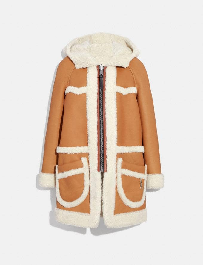 Coach Reversible Shearling Parka Toffee/Natural