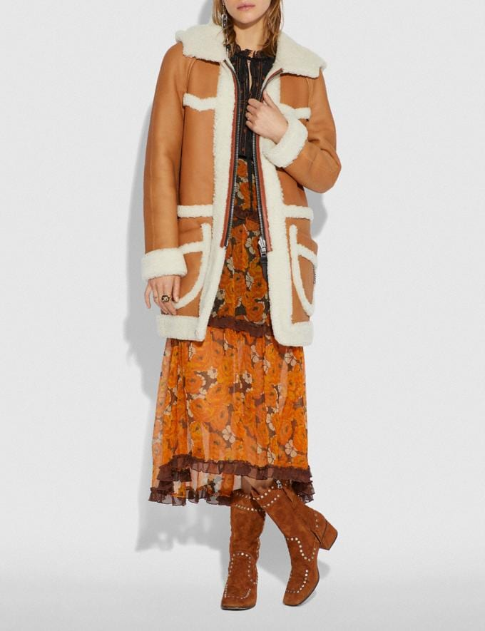 Coach Reversible Shearling Parka Toffee/Natural  Alternate View 1