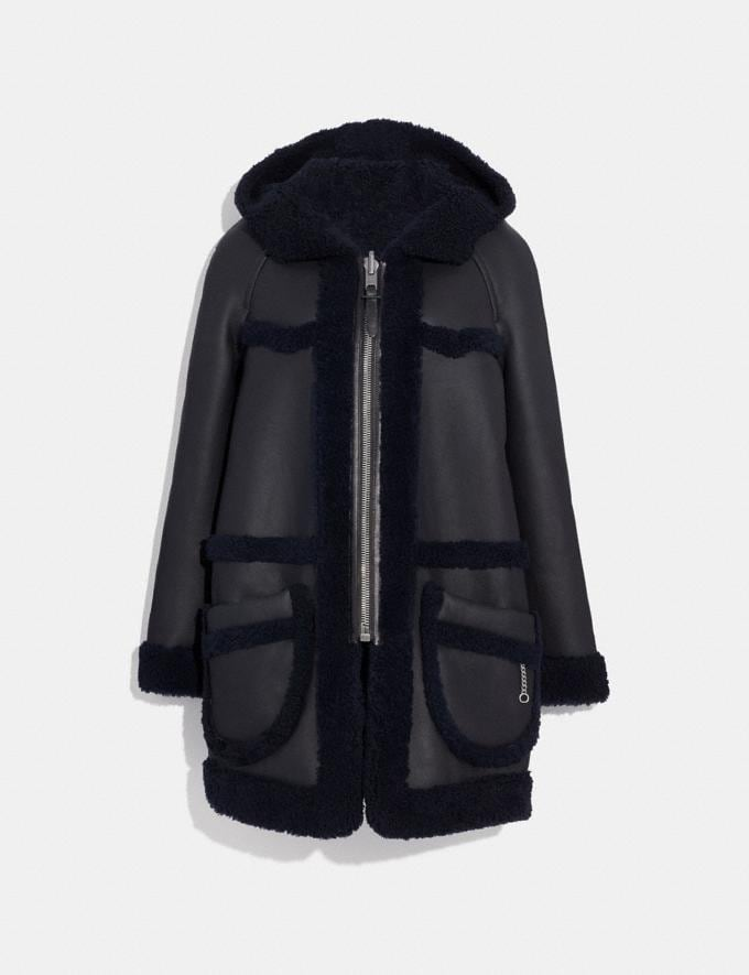Coach Reversible Shearling Parka Black/Navy