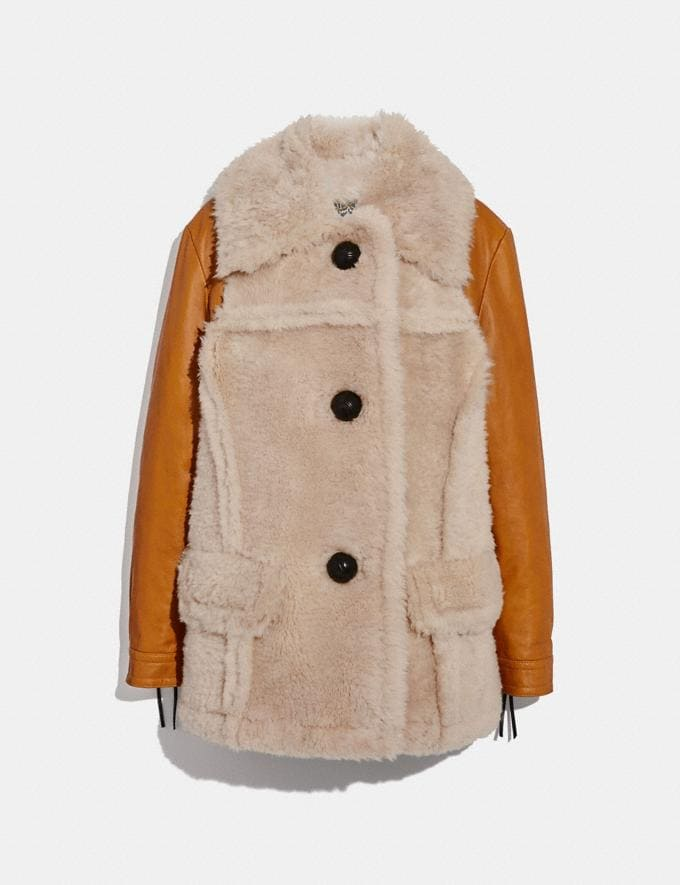 Coach Shearling Leather Coat Dirty Chai