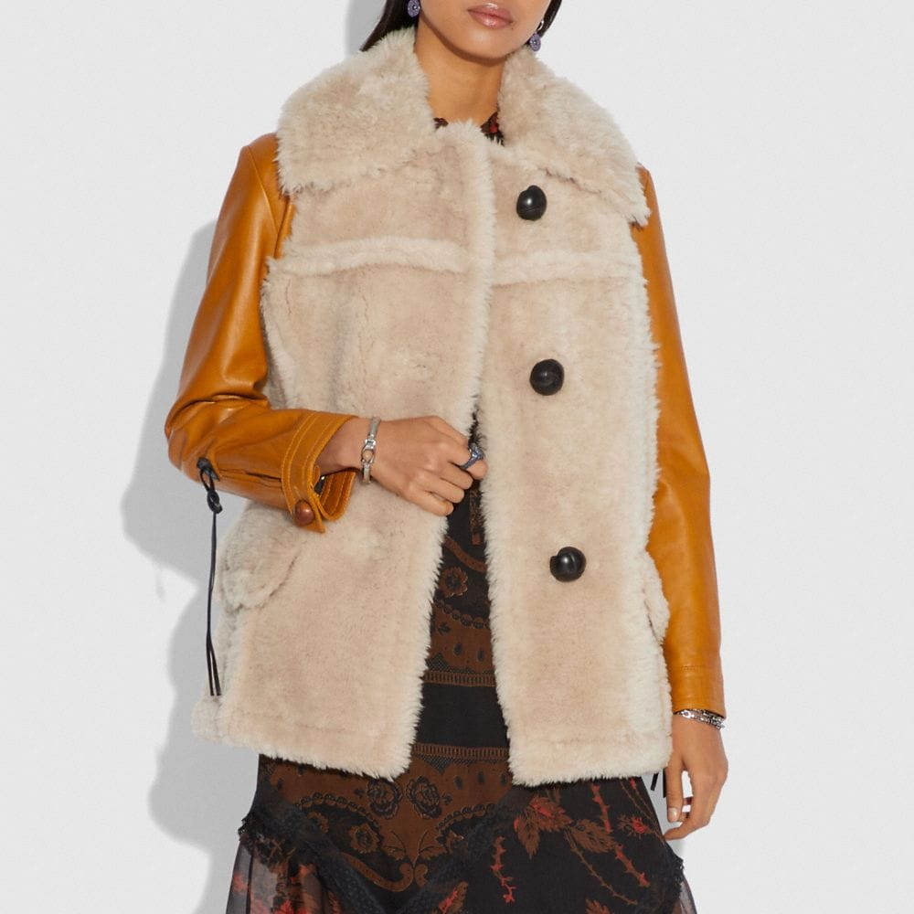 Coach Shearling Leather Coat Alternate View 1