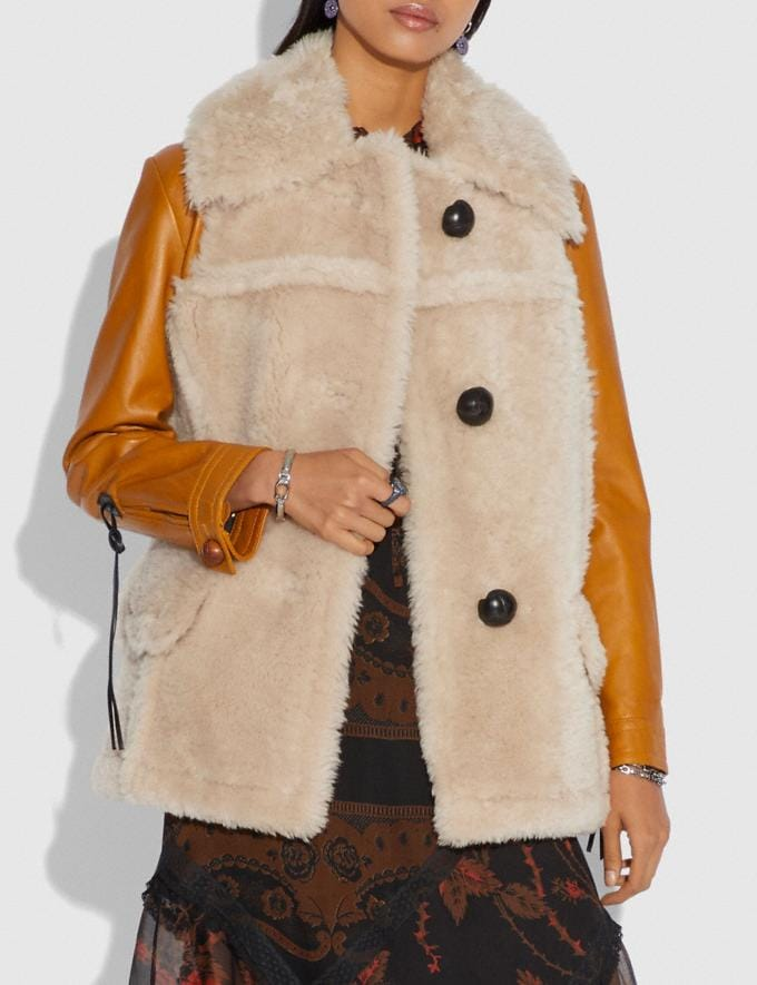 Coach Shearling Leather Coat Dirty Chai  Alternate View 1