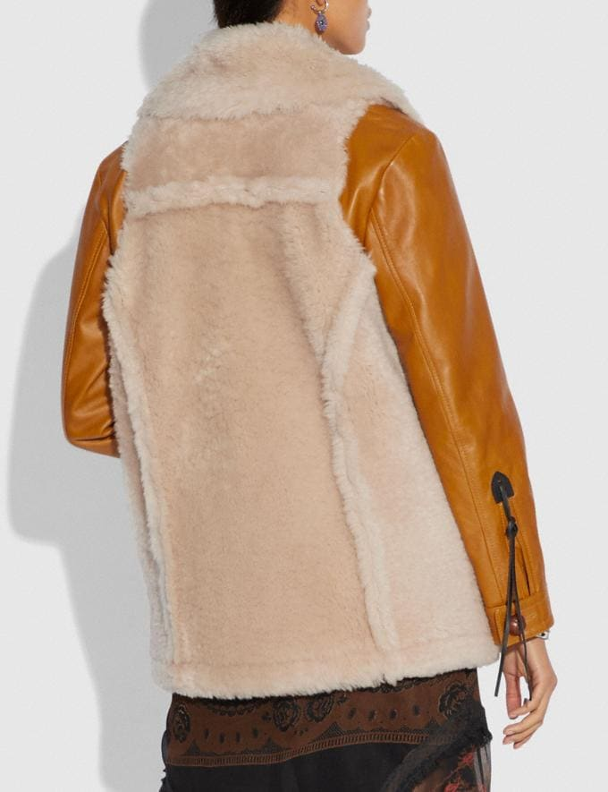 Coach Shearling Leather Coat Dirty Chai  Alternate View 2