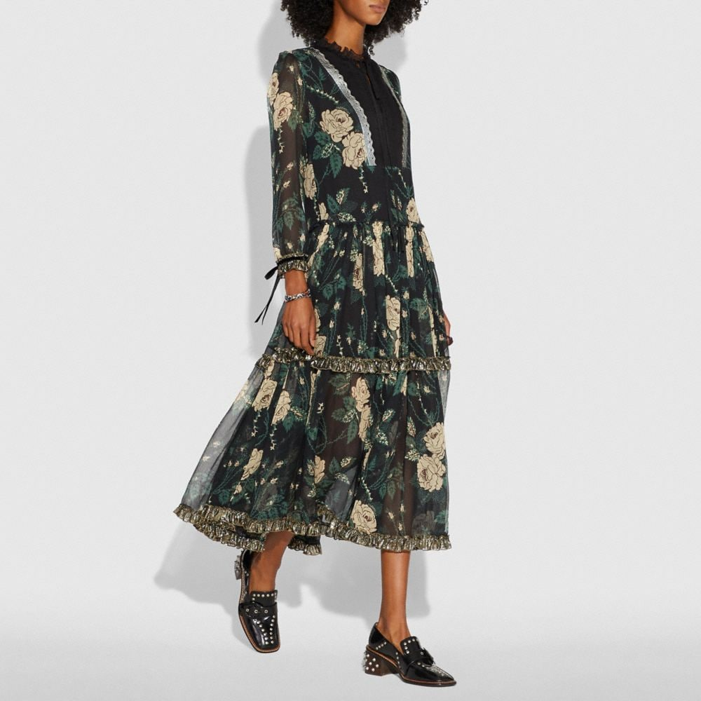 Coach Rose Print Tiered Dress Alternate View 1